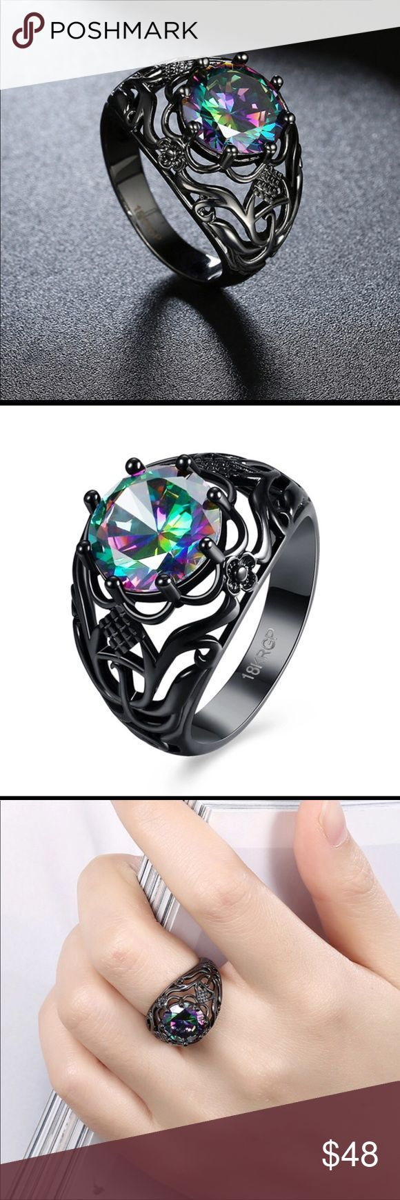 18k Black Gold Plated Rainbow Crystal Stone Ring Beautiful 18k Black Gold Plated Vintage Style Rainbow Crystal Stone Ring with stunningly gorgeous filigree details.  Sizes 7 and 8 available, comes with ring box. Jewelry Rings #jewelryrings