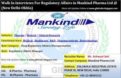 Global Institute of Biosciences and Technology: Walk In Interviews ForRegulatory Affairs inMankin...