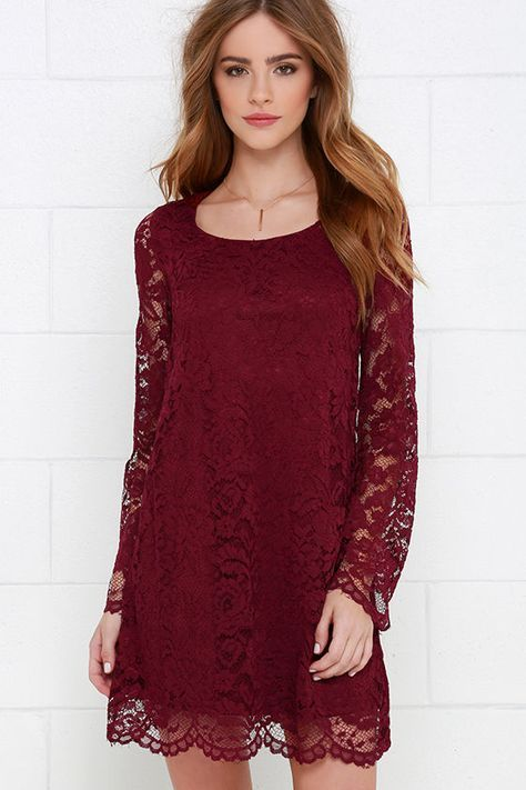 Natural Knack Burgundy Long Sleeve Lace Dress Lace Dress With Sleeves Lace Dress Casual Red Dress Casual