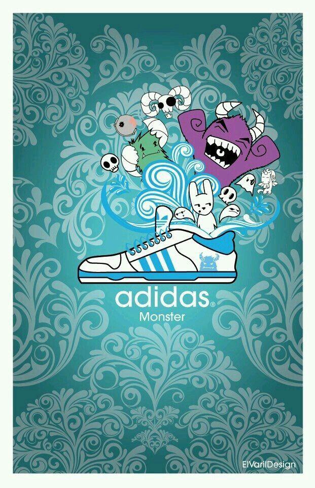 Adidas monster  Cartel para propuesta de tennis Adidas linea monster   Boceto e ilustración digital  Plataforma: adobe illustrator