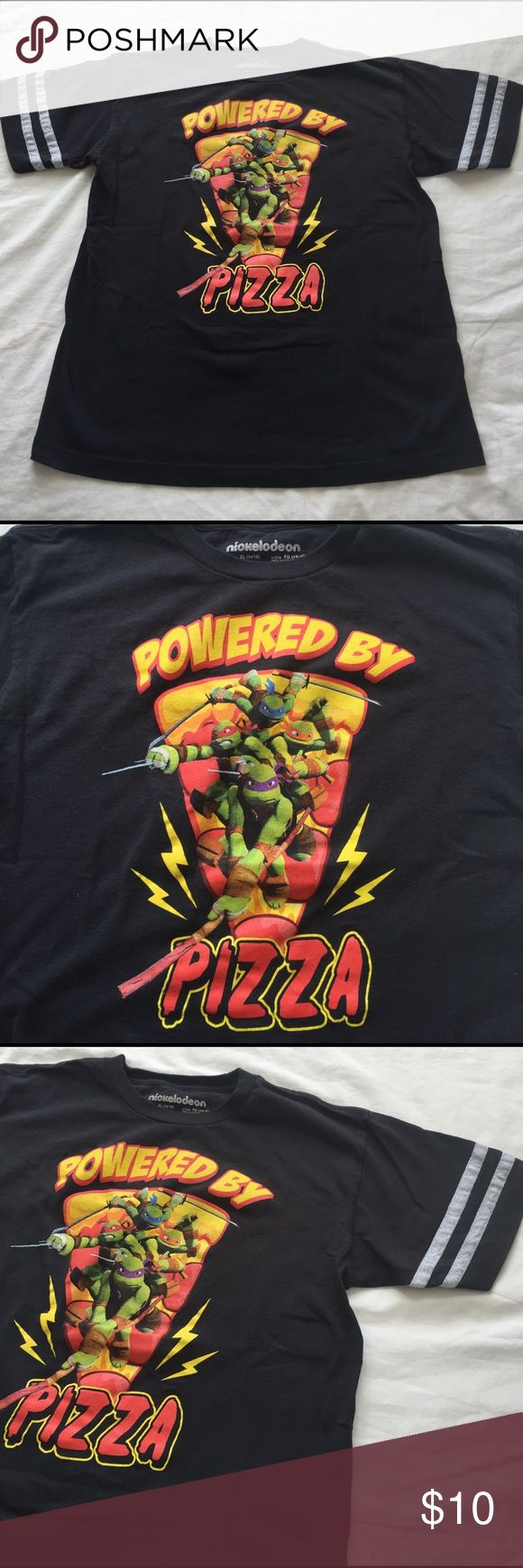 🍕TMNT POWERED BY PIZZA T-Shirt🍕 Throwback Teenage Mutant Ninja Turtles Pizza tee. Youth size XL but fits women S/M. Because who doesn't like PIZZA?! 🍕🍕🍕🍕 Nickelodeon Tops Tees - Short Sleeve