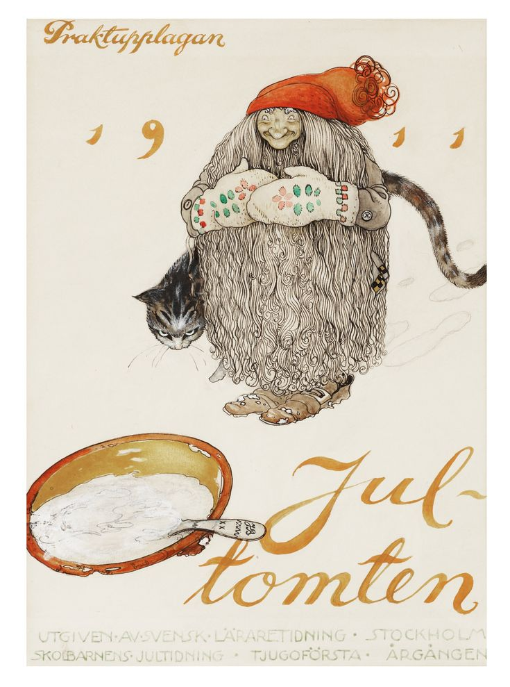"""JOHN BAUER, """"Jultomten (Praktupplagan 1911)"""". Signed JB and dated 1911. Watercolour, heightened white an.... - The Spring Classic Sale, Stockholm 568 – Bukowskis"""