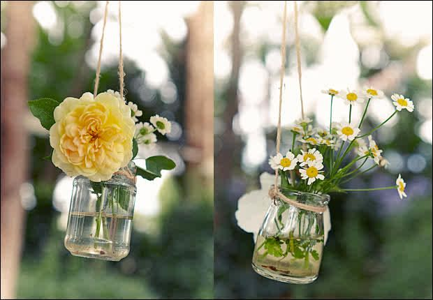 Jars can be used for outdoor decor too- just hang them in trees!