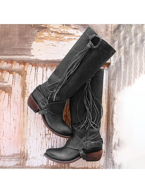 4cf9a439695 Plain Chunky Low Heeled Round Toe Casual Date Outdoor Knee High High Heels  Boots - Selaros
