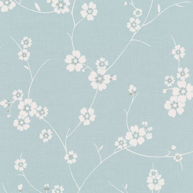 Graham & Brown Blossom Wallpaper Duck Egg Blue / white - Graham & Brown from I love wallpaper UK
