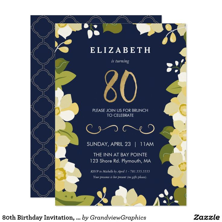 80 birthday invitations