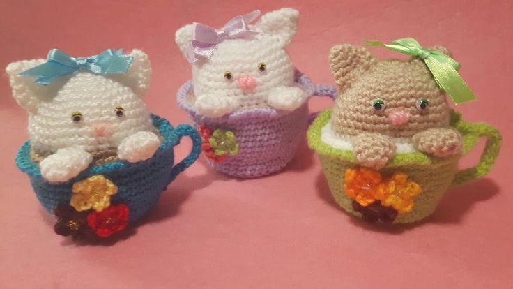 Gattino nella Tazza Amigurumi Tutorial - Cat in the Cup Crochet - Gato Taza