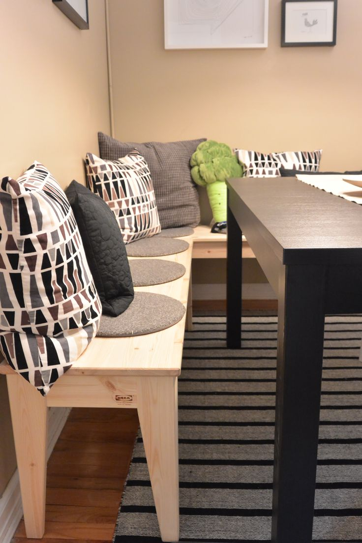Pull the IKEA NORNÄS bench up to your dining table for a flexible seating solution! The solid wood adds a unique touch to your dining space, whether you're having a small dinner or a large party!