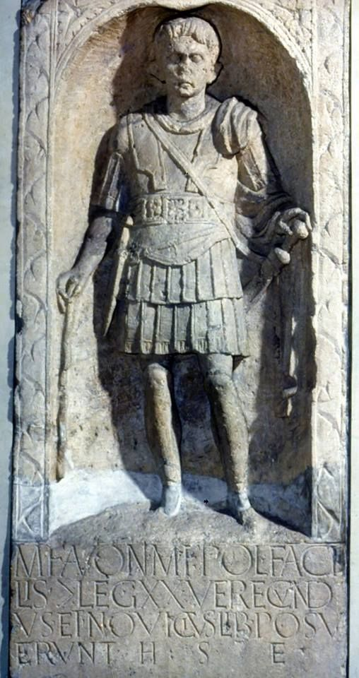 Tombstone of Marcus Favonius Facilis a Roman army officer, from the Polonia region of Italy he was a centurion in the Legio XX Valeria Victrix.  Camulodunum/Colchester, Ist century CE.
