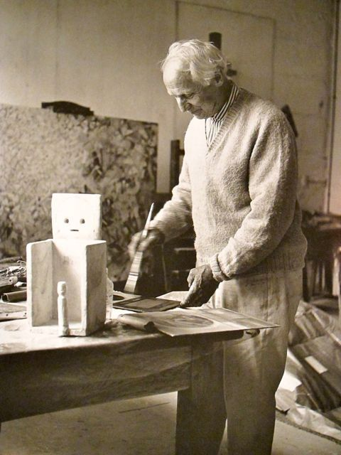 Max Ernst in his studio Huismes, France 1956