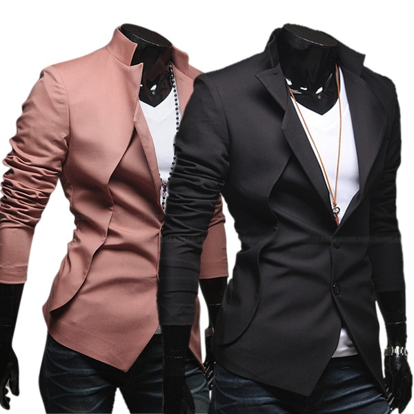 Mens Fashion Casual Slim Fit Two Button Blazer Coat Jacket