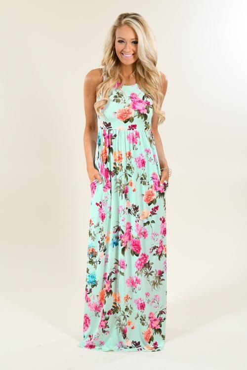 Floral Showers Mint Maxi Dress