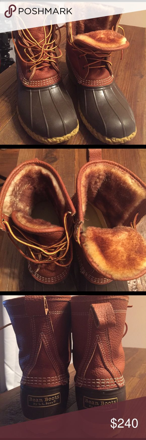 """Women's Tumbled-Leather LL Bean Boots Women's Tumbled-Leather LL Bean Boots, 8"""" Shearling-Lined, 9 W. Excellent condition! I love them bought them a size too big. My loss your gain! L.L. Bean Shoes Winter & Rain Boots"""