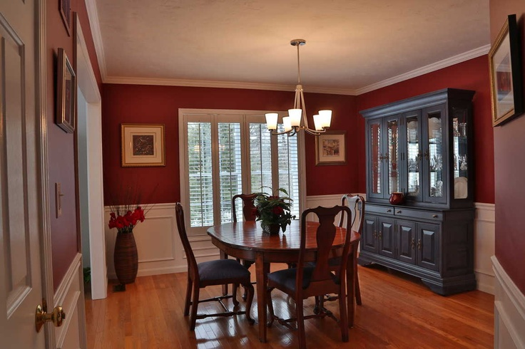 #Red Dining Room Staged by Debbe Daley Designs LLC #Benjamin Moore #2080-10 #RaspberryTruffle
