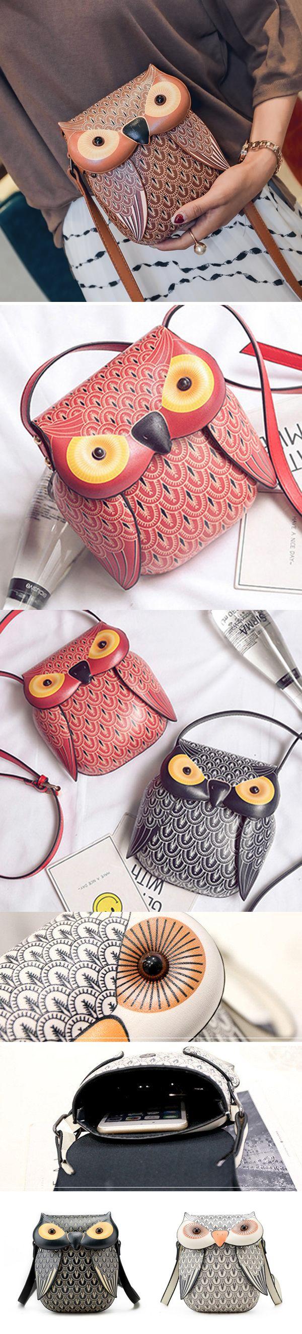 [$ 17.85]   Cartoon Owl Shape Shoulder Bag Creative Crossbody Bag Phone Bag
