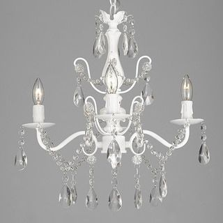 Wrought Iron and Crystal White 4-light Chandelier Pendant - 17435036 - Overstock - Great Deals on Chandeliers & Pendants - Mobile