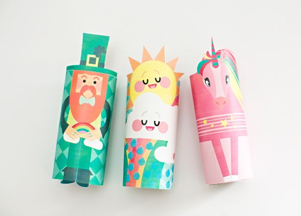 hello, Wonderful - HAPPY CLOUD, UNICORN AND LEPRECHAUN PAPER TUBE CRAFT WITH FREE PRINTABLES