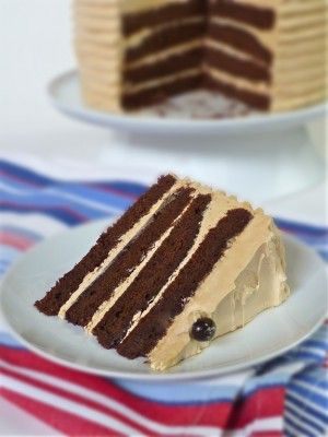 Chocolate Coffee Cake with Espresso Buttercream. The rich, moist layer of chocolate cake is laced with espresso. The buttercream is full of coffee essence.