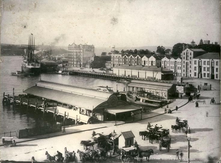 Circular Quay circa 1890. Original ferry terminals to Manly and Watsons Bay and the horse-drawn carts