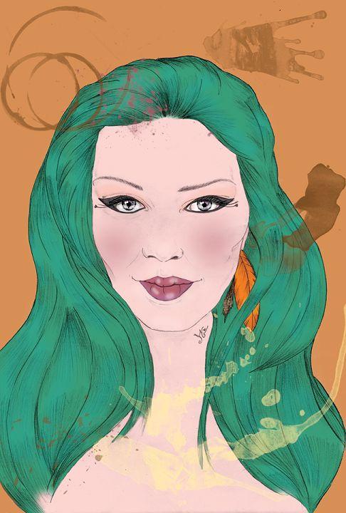 Illustration. Portrait. Pencil on paper + digital painting. A3 size.