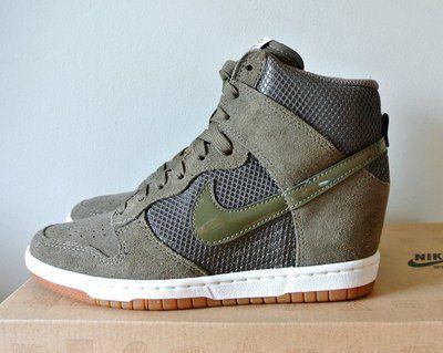 47afeaaa021 NIKE Womens Dunk Sky Hi Mesh Wedge Sneakers TARP GREEN SAIL 6 NIB ...