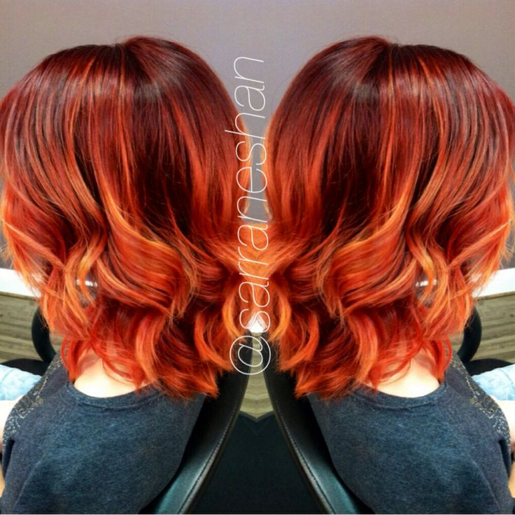 Fiery red Colormelt. Balayage technique highlights. Hair by @sarra Neshan of Blondies Hair Salon, Anderson SC. 864.226.3030