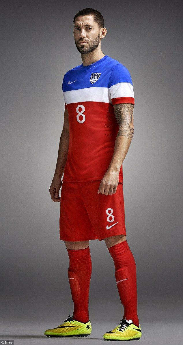 Clint Dempsey models US World Cup away kit #DailyMail