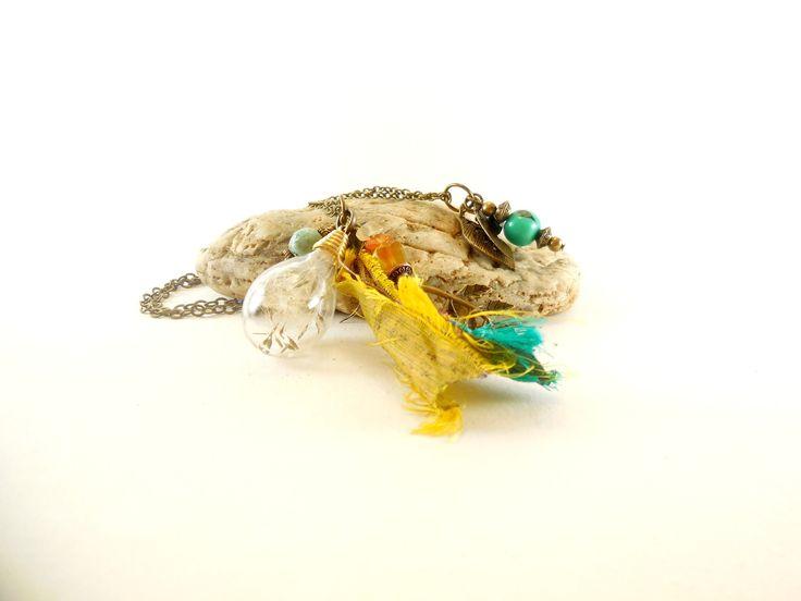 """Double collier poétique jaune safran bohème bulle de pissenlit """"Appel de la nature"""", bronze, perles,soie,cornaline,malachite,feuille : Collier par brume-de-terre"""
