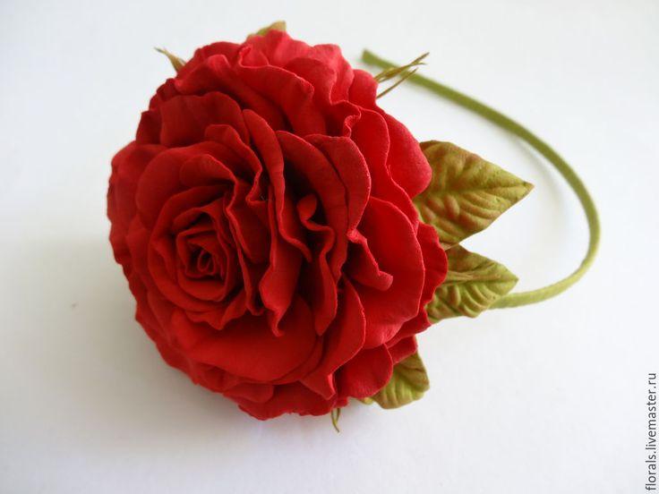 Купить Ободок с цветами - роза. Цветы из фоамирана - ярко-красный, украшения ручной работы