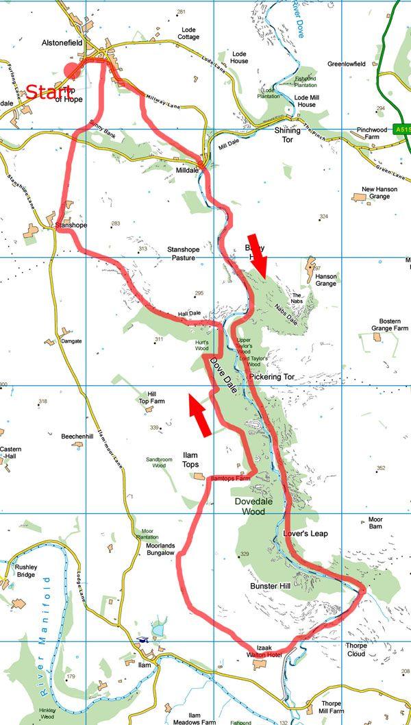 Dove Dale walk map
