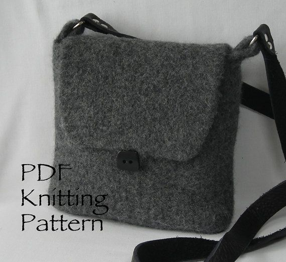 Knitting Pattern PDF Felted Hipster Bags by lavenderhillknits