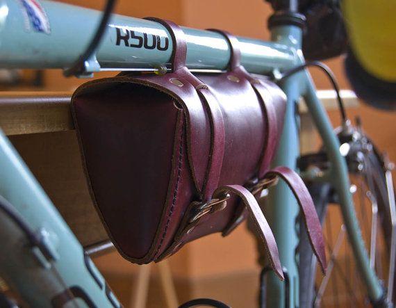 Leather Bicycle Tool Bag, Crossbar Bag, Bike Seat Bag, Saddle Bag, Hand Stitched, Full Grain