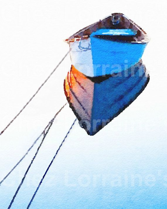 Lámina de cabaña de playa barco acuarela arte imprimir