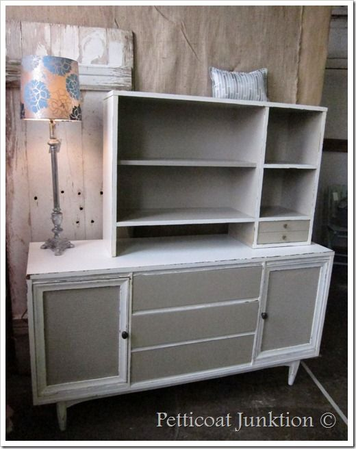 Marvelous Mid Century Modern Buffet And Hutch Painted, Petticoat Junktion