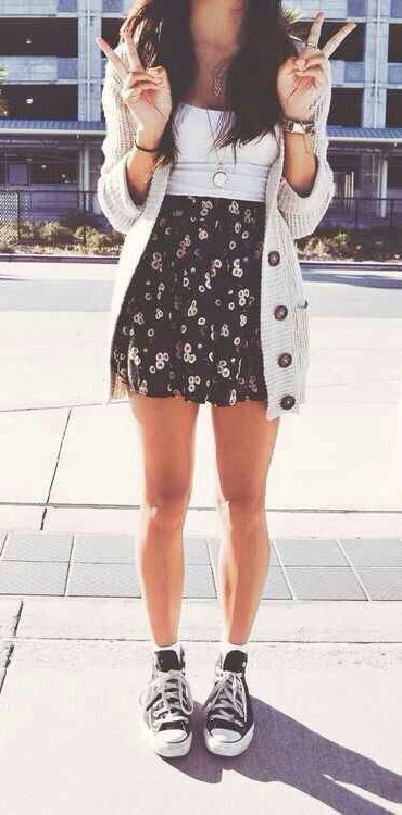 White Tee Black floral patterned Skirt Beige Cardigan Black Converse u0026 SUMMER SUMMER SUMMER