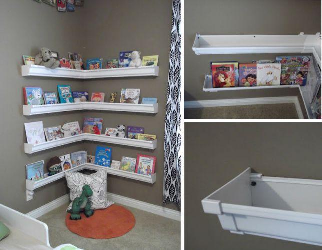 Diy Rain Gutter Bookshelves Classroom Ideas Pinterest