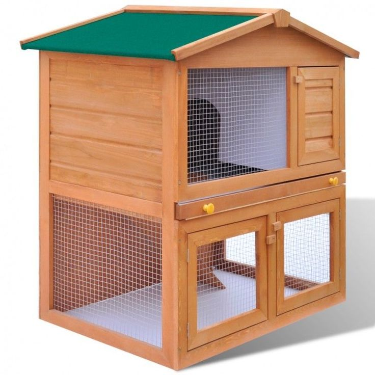Wooden Rabbit Hutch Small Animal House Pet Cage Bunny 3 Doors Wood Outdoor New #RabbitHutch