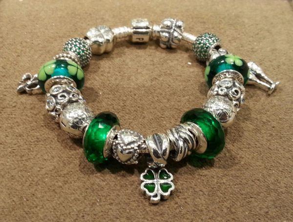 St. Patrick's Day themed Pandora Bracelet from the Pandora Store at Franklin Park Mall
