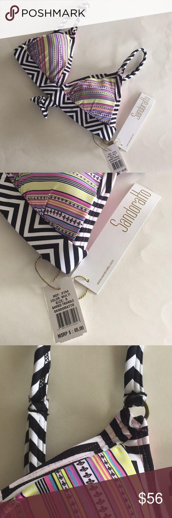 Sandoratto banded triangle bikini top Sandoratto striped band multi color triangle bikini top, size small.  Adjustable straps with tie back and removable pads.  NWT sandoratto Swim Bikinis