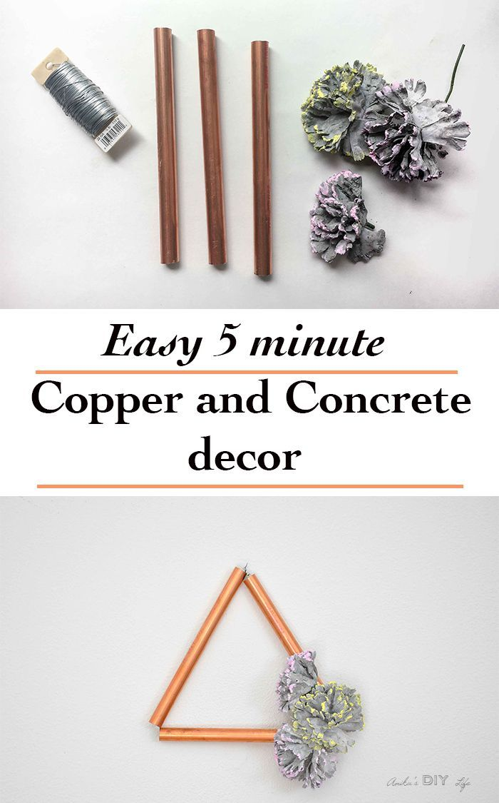 How to make modern DIY copper decor with concrete flowers. | Perfect spring or summer decor