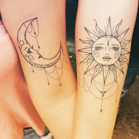 Two nice bicep tattoos of the sun and the moon.