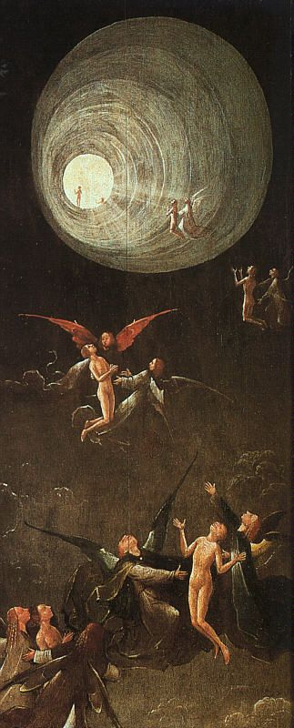Hieronymus Bosch - Ascent of the Blessed, from the poliptych 'Visions of the Hereafter' (oil on panel, date uncertain) attributed to Bosch (oil on panel, Palazzo Ducale, Venice)