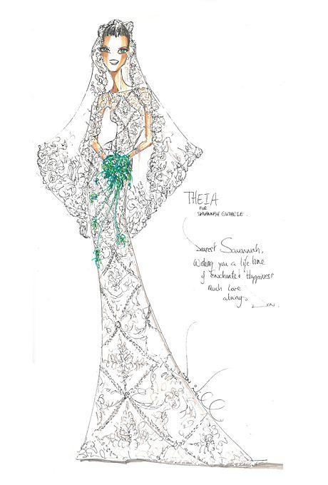 Wedding dress sketch for Savannah Guthrie | Theia | brides.com