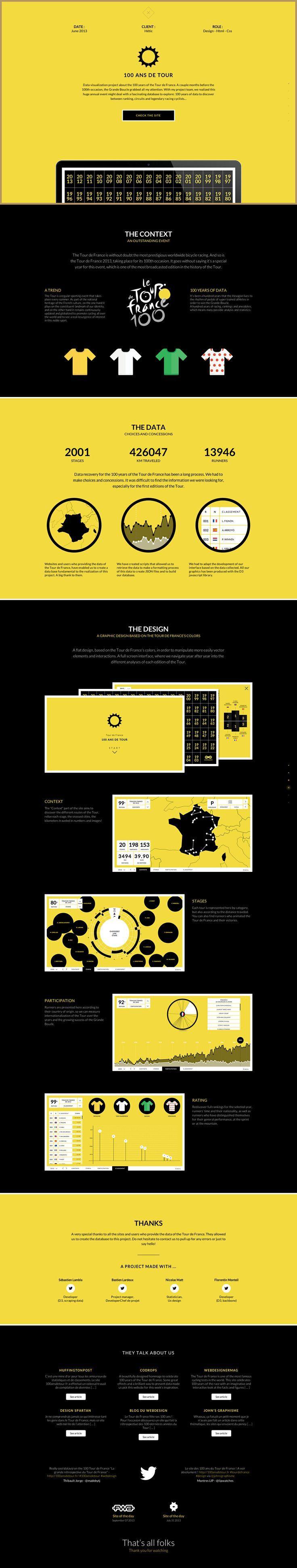 Unique Web Design, 100 Ans de Tour #WebDesign #Design (http://www.pinterest.com/aldenchong/)