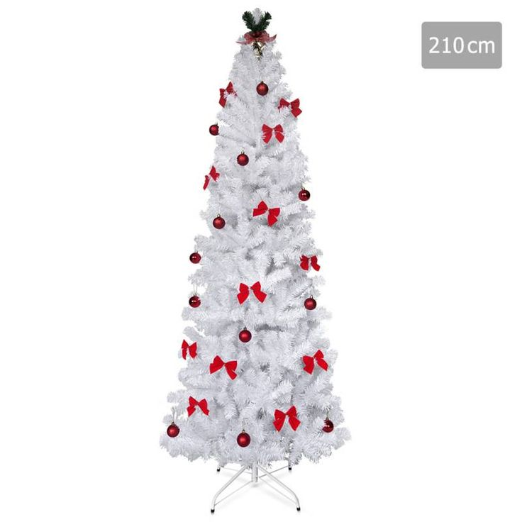 Christmas Tree with Ornaments in White PVC - 2.1m | Buy Christmas Trees