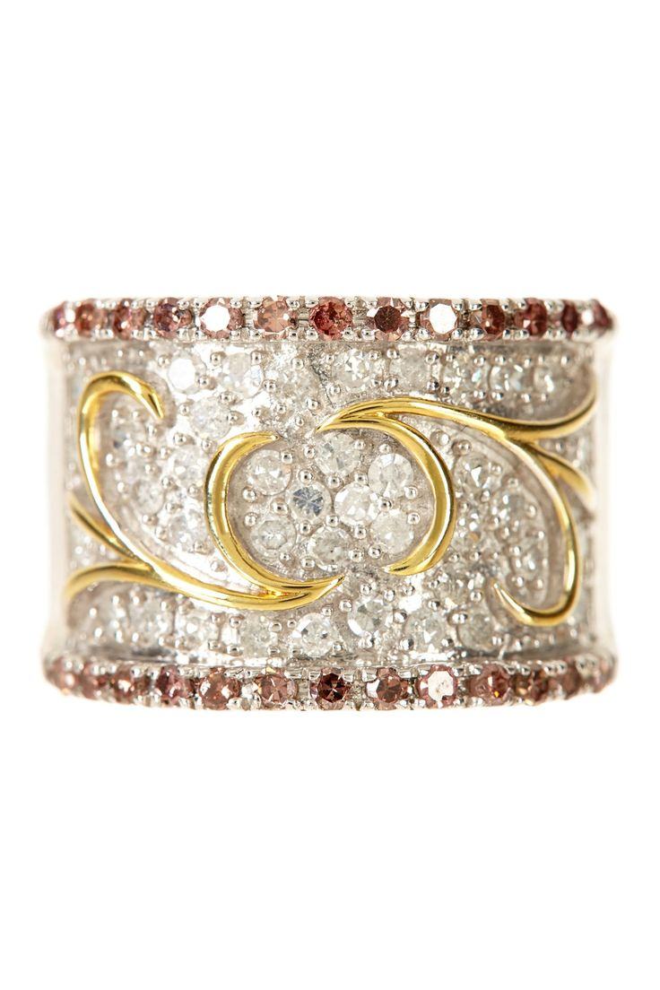 White & Pink Diamond Scroll Ring Band - 1.00 ctw