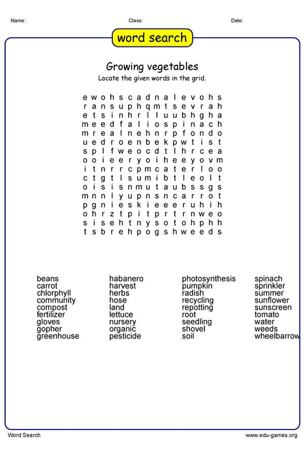 Growing Vegetables Word Search Puzzle Check Out The Hundreds Of