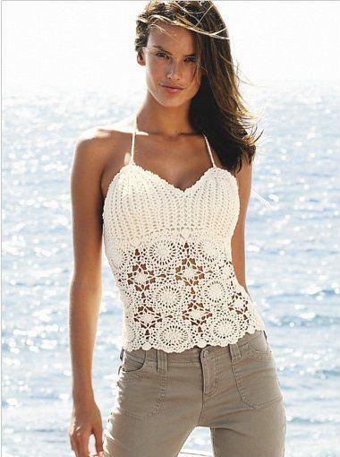 Outstanding Crochet: Crochet shoulder-strap tops. Pattern.