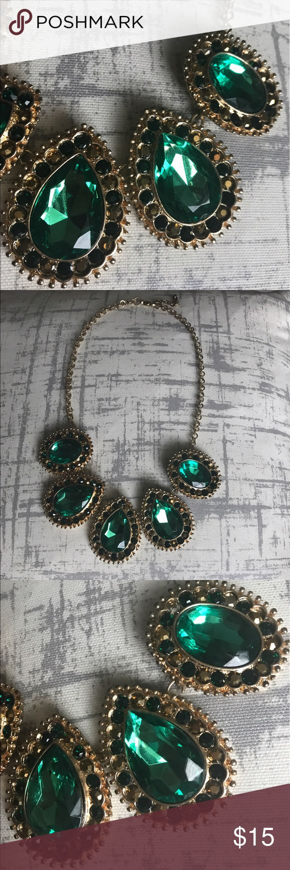 Emerald with gold necklace All gems and rhinestones intact. Used twice only. Jewelry Necklaces