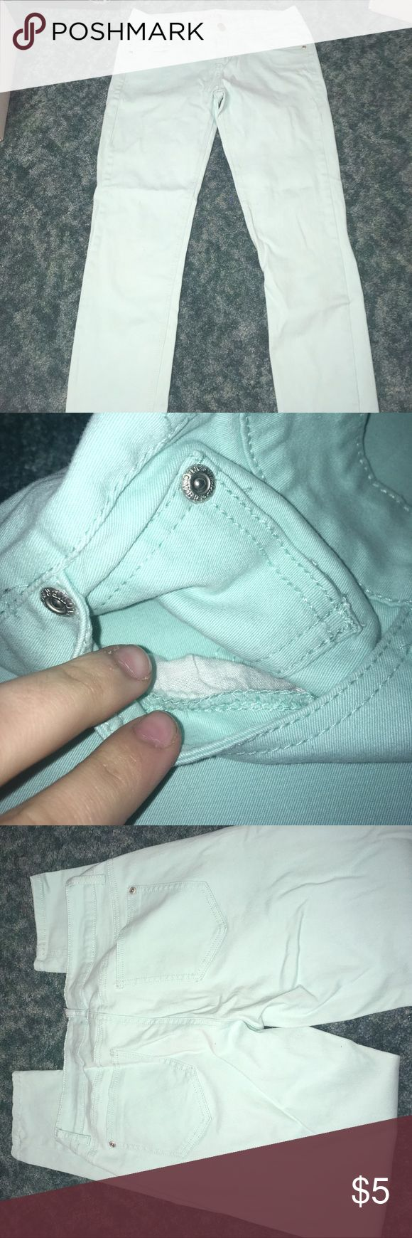 Light Teal Skinny Jeans This is a light teal pair of skinny jeans from Wallflower. Size: 11 fits like regular ones but Juniors was the only option. Have been worn a handful of times and have no snags. Still in amazing condition. Wallflower Jeans Skinny